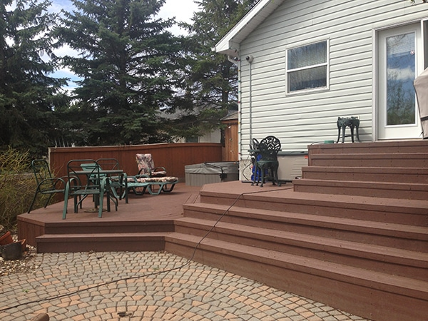 12 year old deck re-faced with Trex Trancends composite decking (decks, hot tub pads)