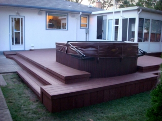 Trex composite deck with built-in hot tub