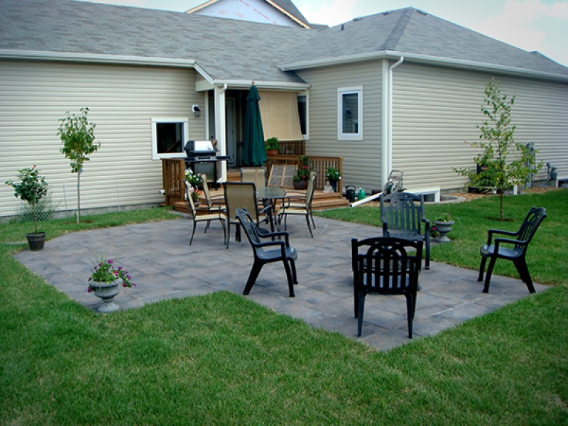 Dynasty slate patio in middle of back yard