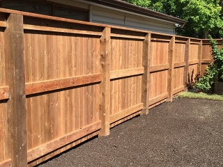 Six foot treated brown fence with 6x6 posts