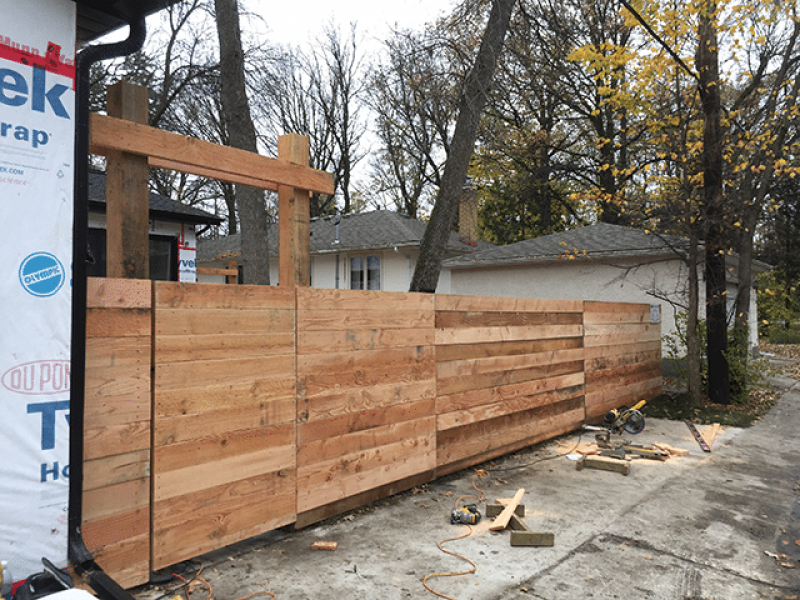 Horizontal fence with rough fir