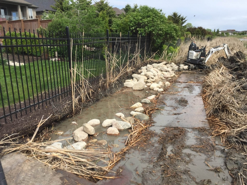 Erosion control for city lake lot