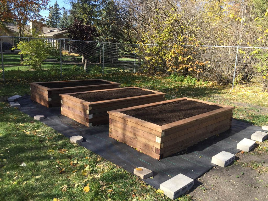 Treated brown wooden planting boxes