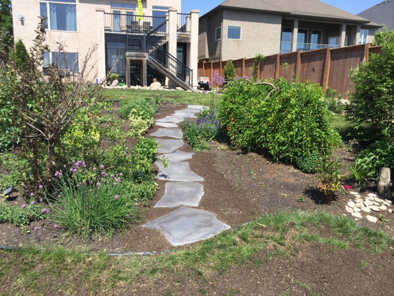 Grand Flagstone path through garden