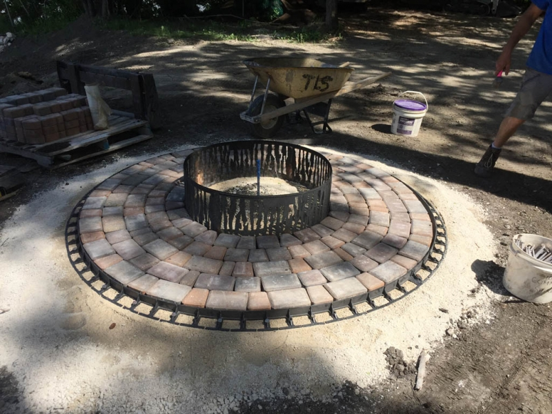 Victorian patio around fire pit