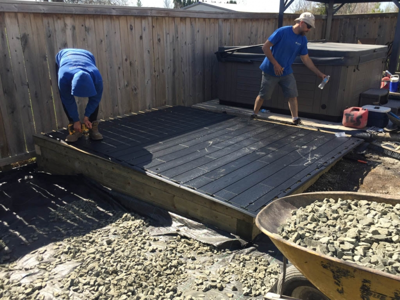 Shed installation on sloped yard