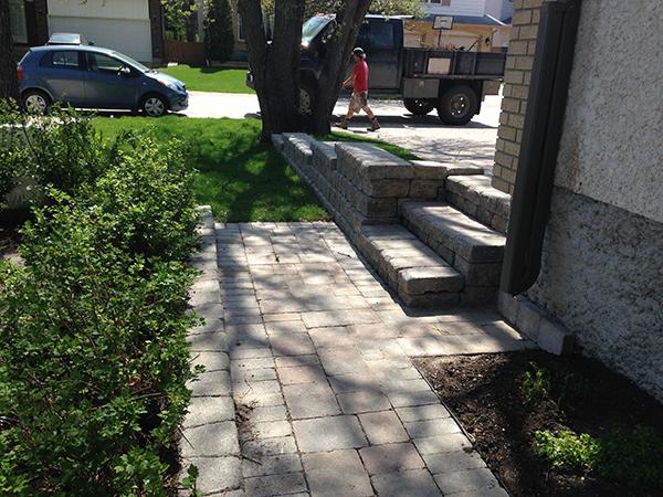 Lead image retaining walls, paving stones.JPG