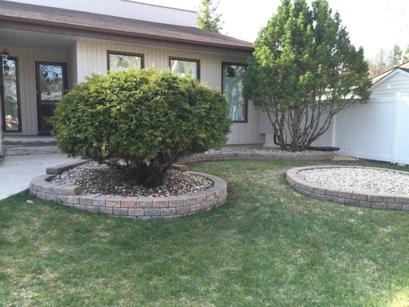 Curvy Stack Stone retaining wall in Autumn brown retaining walls