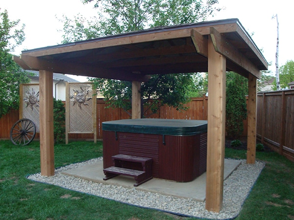 Hot tub shelter with 8x8 fir posts (outdoor wood structures)