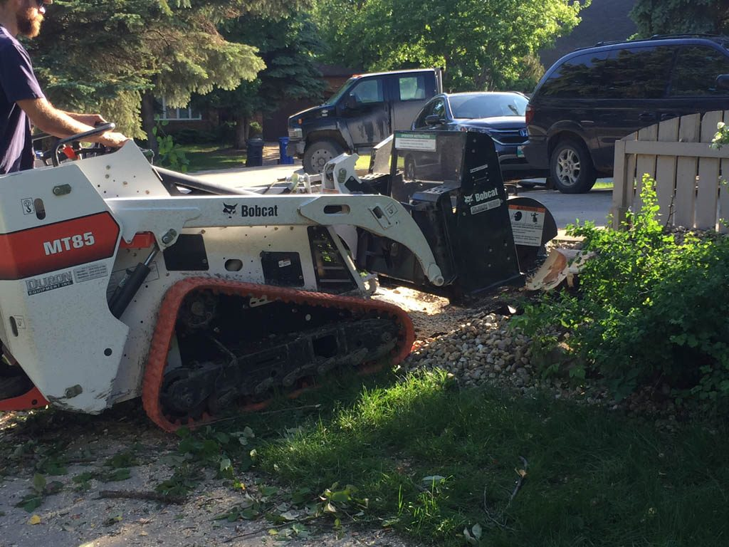 Stump grinding with mini skid steer