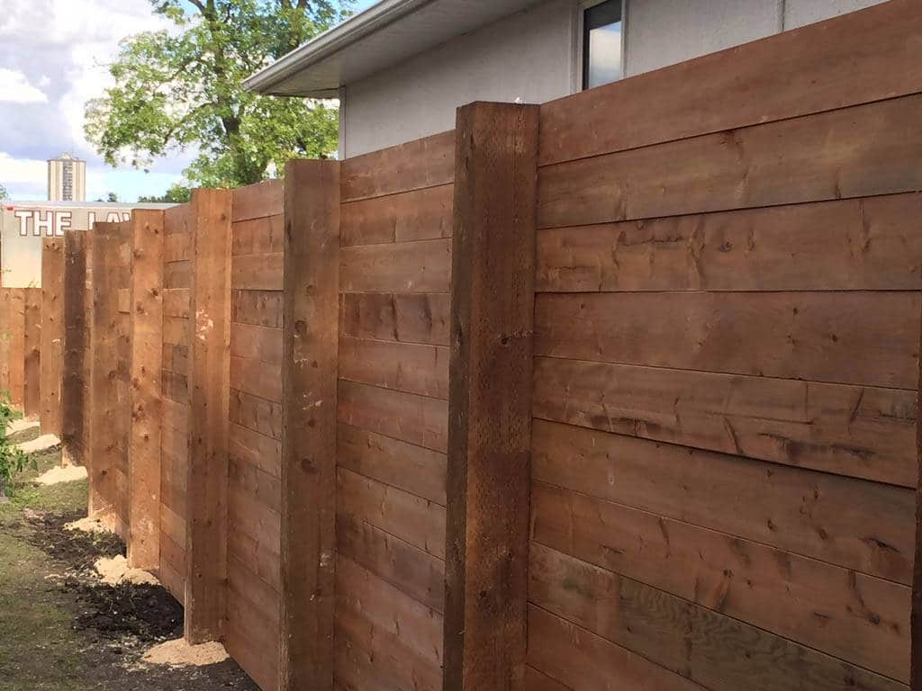 Treated Brown Fence With Horizontal 1 215 6 S 6 215 6 Posts And
