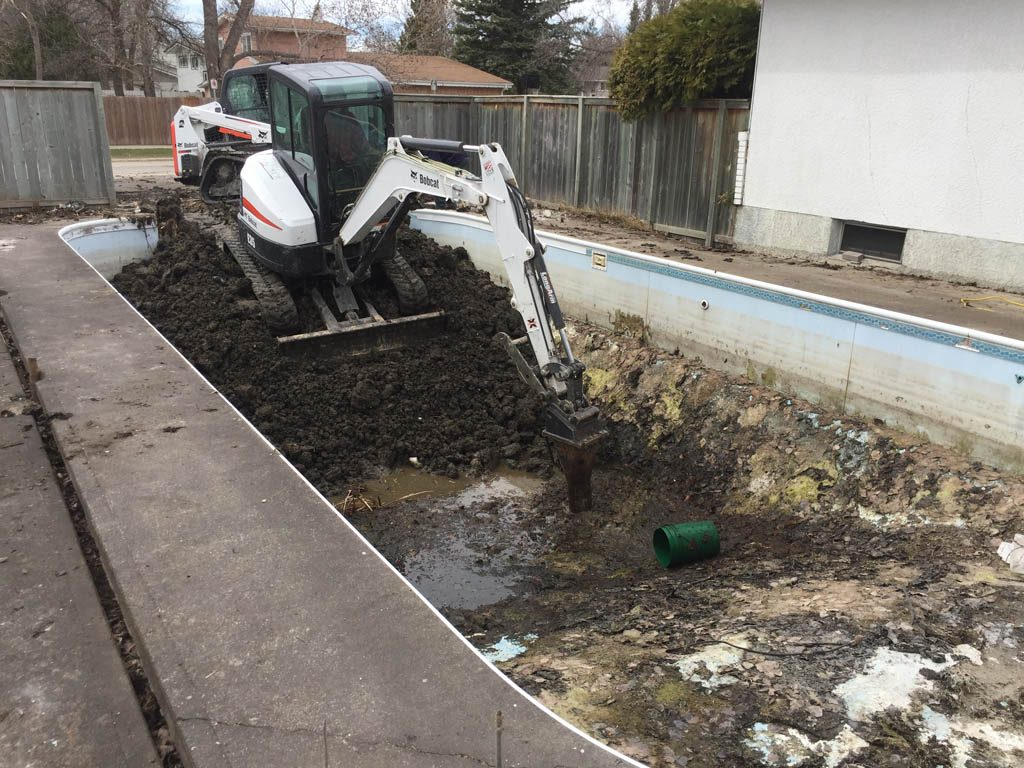Pool removal with concrete walls and floor