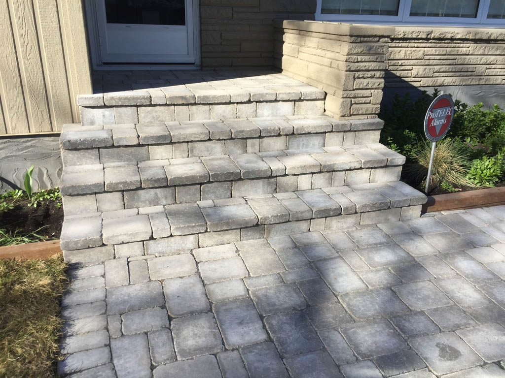 Roman paving stones glued to front steps