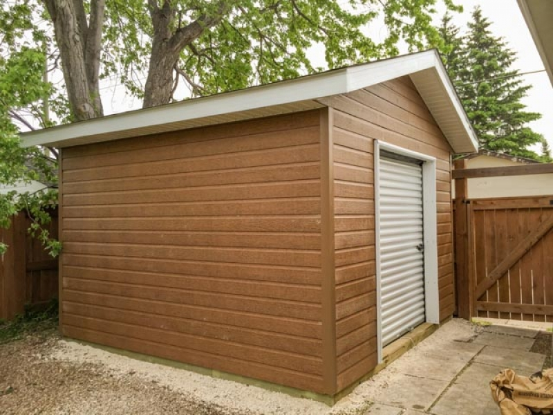 Shed with Canexel siding and roll-up door
