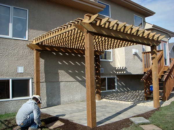 Treated brown arbor over Dynasty slate patio