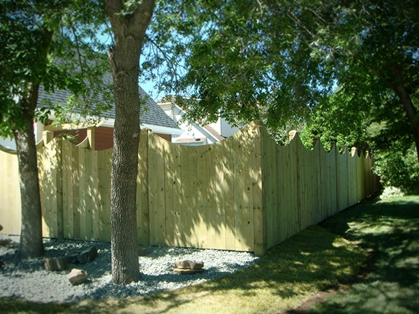 Treated green fence with concave curved top