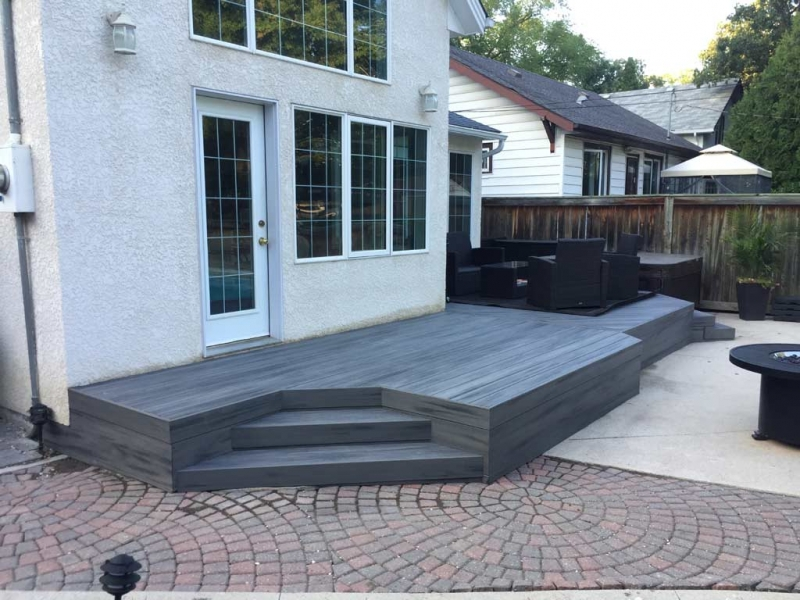 Trex Island Mist Composite Deck Adjacent to Hot Tub